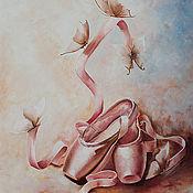 Картины и панно ручной работы. Ярмарка Мастеров - ручная работа Легкость бабочки...балет   Картина маслом. Handmade.