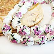 Материалы для творчества handmade. Livemaster - original item Beads porcelain floral print 10h8mm. Handmade.