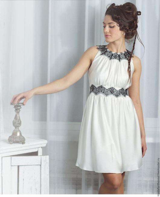 Платья ручной работы. Ярмарка Мастеров - ручная работа. Купить Платье с кружевным воротником. Handmade. Белый, платье, натуральный шелк