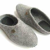 Обувь ручной работы handmade. Livemaster - original item Grey felted Slippers for men. Handmade.