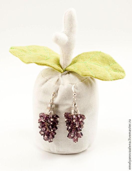 Серьги ручной работы. Ярмарка Мастеров - ручная работа. Купить Фиолетовые Серьги из натуральных камней ручной работы Флёр. Handmade.