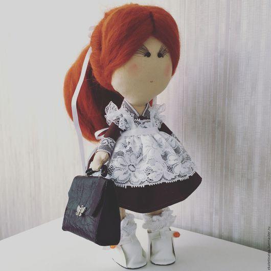 """Коллекционные куклы ручной работы. Ярмарка Мастеров - ручная работа. Купить Интерьерная кукла """"школьница"""". Handmade. Коричневый, интерьерная игрушка"""