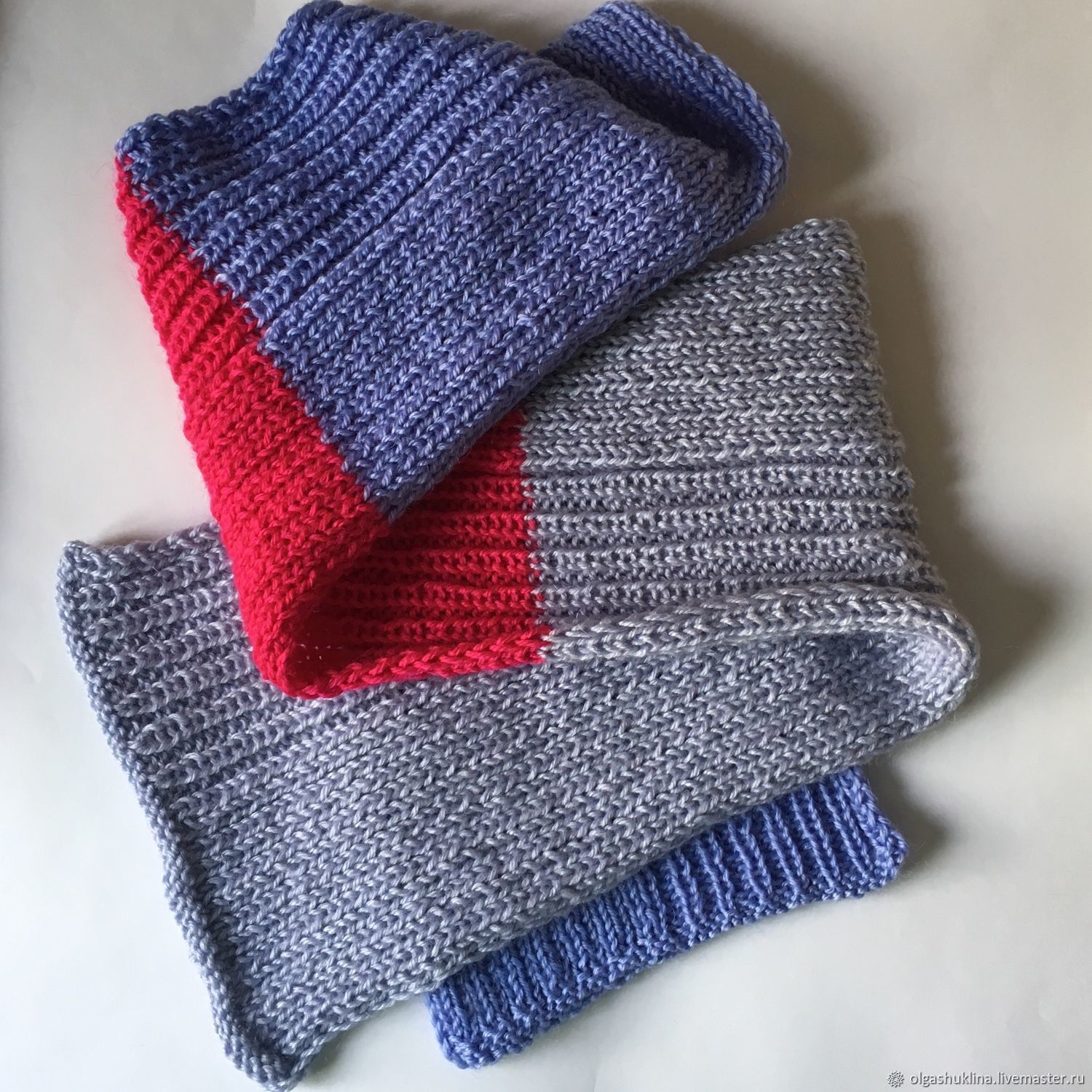 Knitted scarf and mittens raspberry (cashmere grey raspberry blue), Scarves, Ekaterinburg,  Фото №1