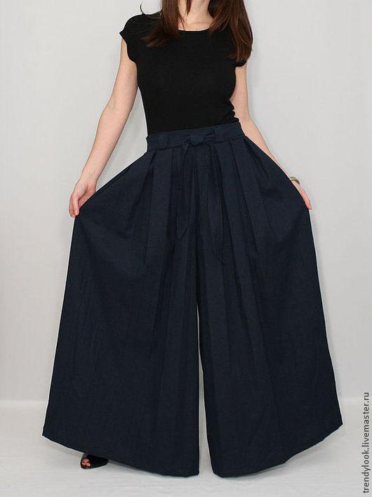 Брюки, шорты ручной работы. Ярмарка Мастеров - ручная работа. Купить Широкие льняные брюки юбка, летние штаны темно-синие. Handmade.