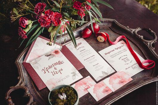 Свадебные аксессуары ручной работы. Ярмарка Мастеров - ручная работа. Купить Приглашения на свадьбу. Handmade. Бордовый, пригласительные, дизайнерская бумага