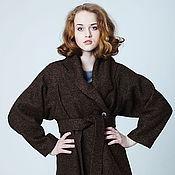 Одежда ручной работы. Ярмарка Мастеров - ручная работа Пальто из лодена темно-коричневое, шерстяной жакет, накидка на весну. Handmade.
