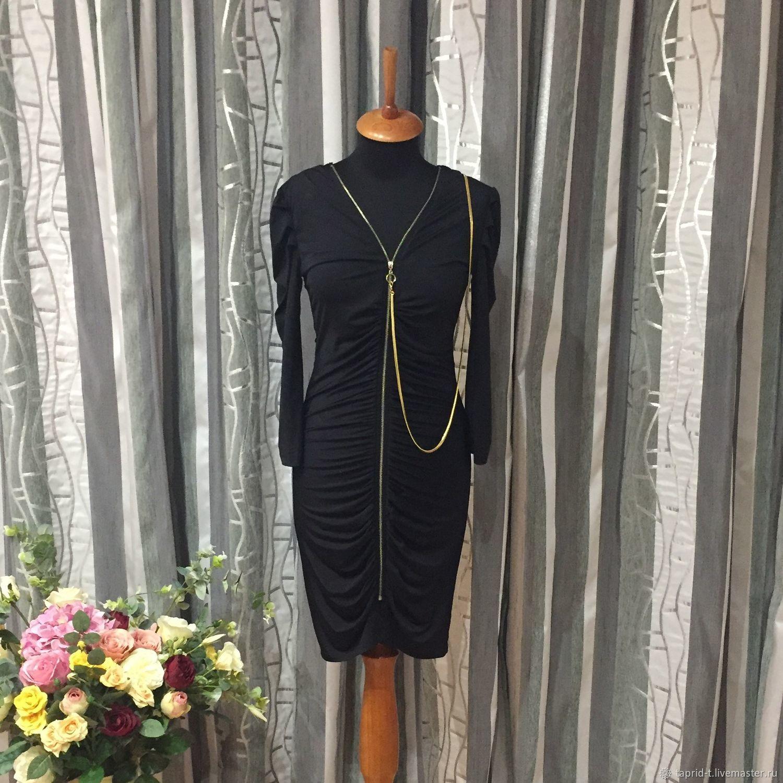 Одежда. Ярмарка Мастеров - ручная работа. Купить Винтаж: Платье стильное чёрное на молниях стиля 80-х годов. Handmade.