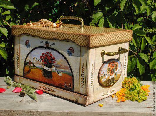 """Кухня ручной работы. Ярмарка Мастеров - ручная работа. Купить Хлебница """"Provence"""". Handmade. Хлебница, для кухни, подсолнухи, дерево"""