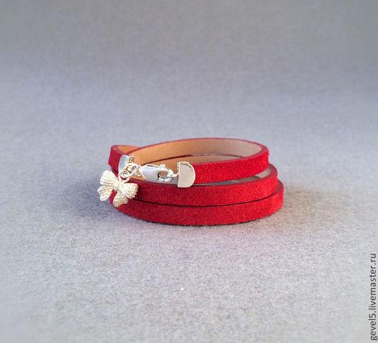 Браслеты ручной работы. Ярмарка Мастеров - ручная работа. Купить Кожаный браслет, красный цвет.. Handmade. Ярко-красный, маковый