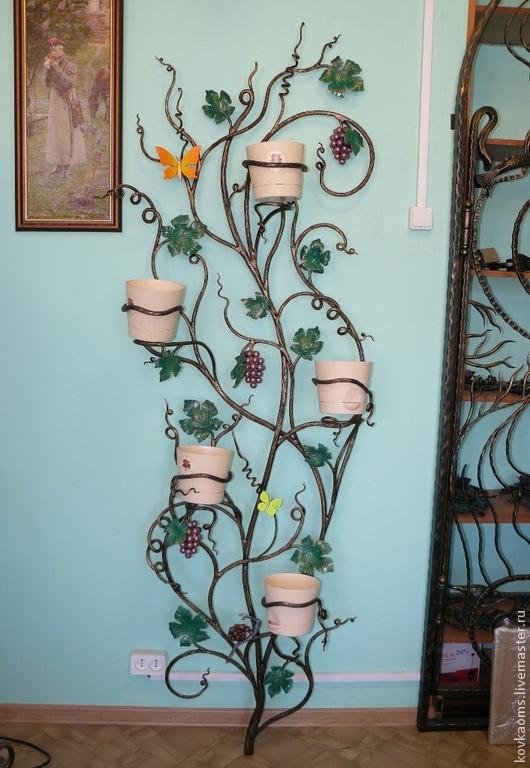 """Подставки под цветы ручной работы. Ярмарка Мастеров - ручная работа. Купить Подставка для цветов настенная на 5 цветочных горшков """"Дерево"""". Handmade."""