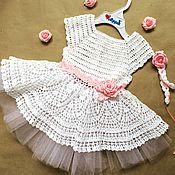 Работы для детей, ручной работы. Ярмарка Мастеров - ручная работа Ажурное белое платье для девочки. Handmade.