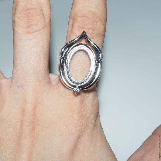 """Для украшений ручной работы. Ярмарка Мастеров - ручная работа. Купить Основа для кольца """"Золушка""""(13х18) - серебрение 925 пробы. Handmade."""