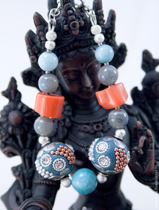 Браслеты ручной работы. Ярмарка Мастеров - ручная работа. Купить Браслет из натуральных камней Рассвет над морем. Handmade. Голубой