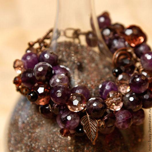 Браслет из аметиста Упакован в красивую коробочку Красивый искрящийся браслет