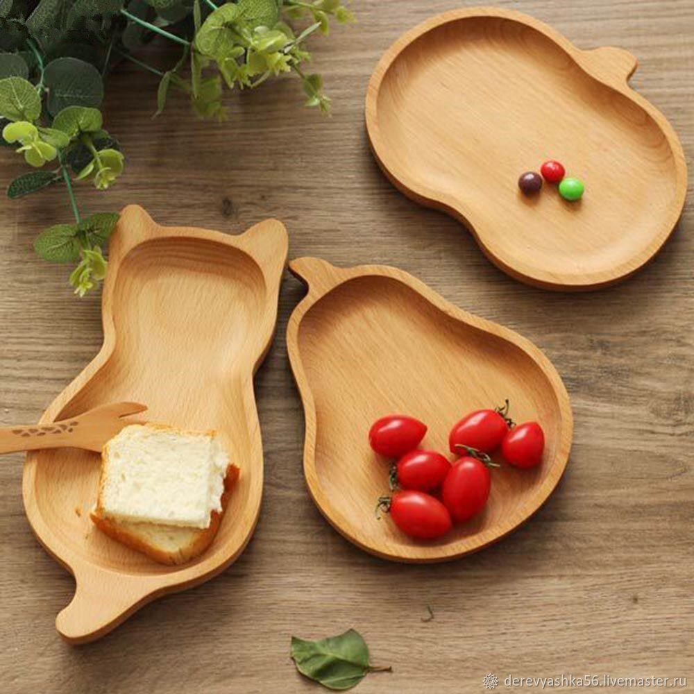 Plates for children from Solid Beech. Application of the name for Free!, Trays, Orsk,  Фото №1