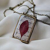 Украшения handmade. Livemaster - original item Pendant brass and resin jewelry with leaf barberry Bronze age. Handmade.