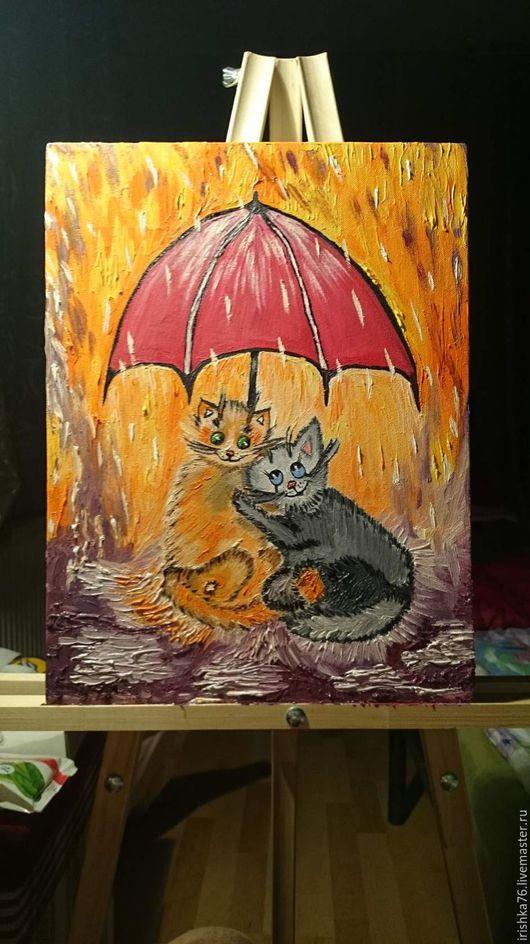 """Животные ручной работы. Ярмарка Мастеров - ручная работа. Купить Картина маслом """"Парочка под теплым дождем.Весна"""". Handmade."""