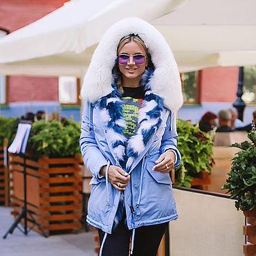 Одежда ручной работы. Ярмарка Мастеров - ручная работа Парка - жилетка голубого цвета с натуральным мехом песца. Handmade.