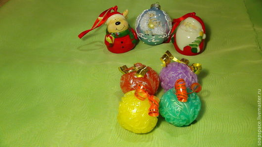 Мыло ручной работы. Ярмарка Мастеров - ручная работа. Купить Ёлочный шарик 3Д маленький. Handmade. Елочные игрушки, елка