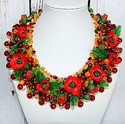 Украшения handmade. Livemaster - original item Necklace of beads and stones with flowers