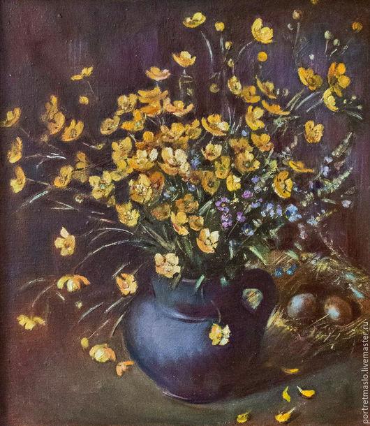 """Картины цветов ручной работы. Ярмарка Мастеров - ручная работа. Купить """"Желтые цветочки"""". Handmade. Желтый, букет, картина маслом"""