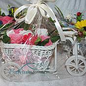 """Набор мыла ручной работы """"Велосипед с цветами"""",в ассортименте."""