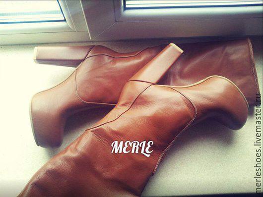 Обувь ручной работы. Ярмарка Мастеров - ручная работа. Купить Сапоги натуральная рыжая кожа, 12 и 2 см. Handmade.