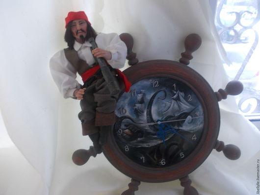 Коллекционные куклы ручной работы. Ярмарка Мастеров - ручная работа. Купить часы с пиратом. Handmade. Пират, композиция в подарок