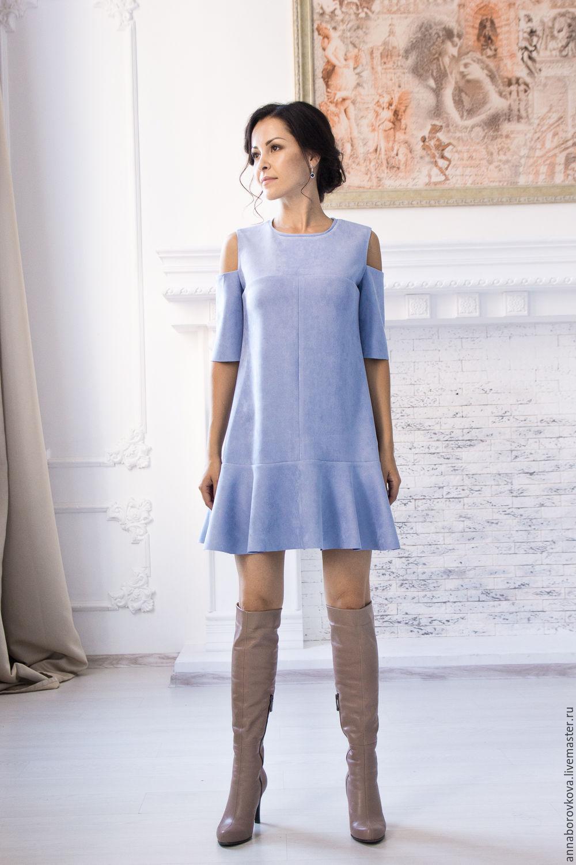 Купить платье трапеция с воланом