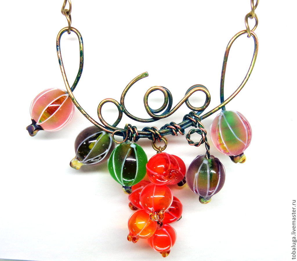 Necklace Sweet berry lampwork, Necklace, St. Petersburg,  Фото №1