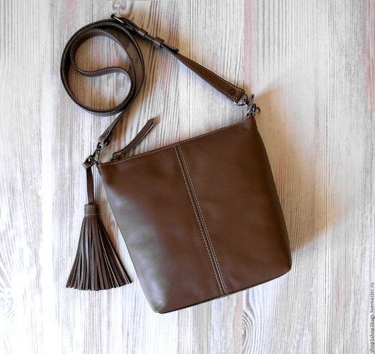 Женские сумки ручной работы. Ярмарка Мастеров - ручная работа. Купить Кожаная сумка на плечо. Коричневый, серо-коричневый,капучино,тауп. Handmade.