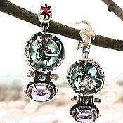 Украшения handmade. Livemaster - original item Silver mouse-Rat earrings. 925 sterling silver. Garnet, fluorite, amethyst. Handmade.