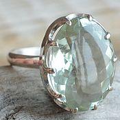 Кольцо с празиолитом - зеленым аметистом, серебро