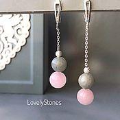 Украшения handmade. Livemaster - original item Asymmetric long earrings with rose quartz and agate. Handmade.