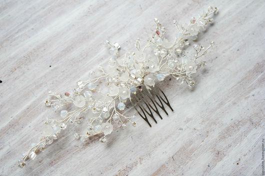Свадебные украшения ручной работы. Ярмарка Мастеров - ручная работа. Купить Гребень хрустальный с цветочками. Handmade. Белый, ландыши