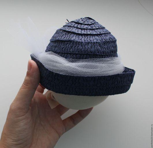 Одежда для кукол ручной работы. Ярмарка Мастеров - ручная работа. Купить Соломенная шляпка на куклу БАНТ. Handmade. Тёмно-синий