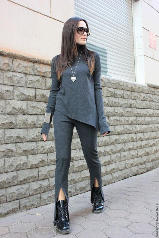 R00036 Брючки спортивные штаны трикотажные спортивный стиль комфорт серый цвет спорт шик брюки клеш леггинсы брюки на резинке дизайнерские брюки стильная одежда стиль Casual леггинсы