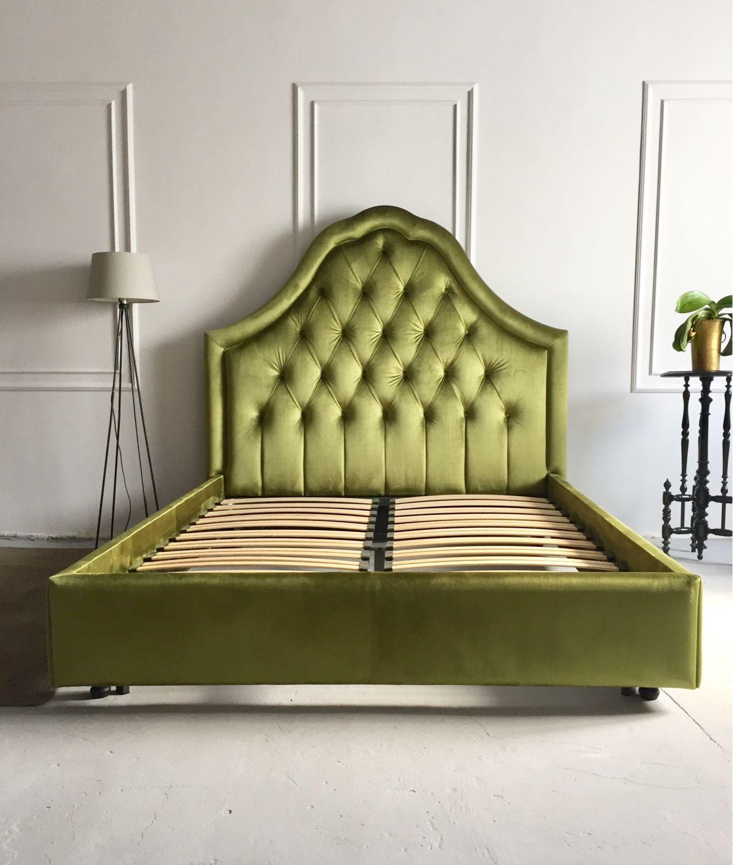Мебель ручной работы. Ярмарка Мастеров - ручная работа. Купить Кровать с изголовьем. Handmade. Зеленый, спальня, каретная стяжка, поролон