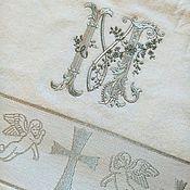 Работы для детей, ручной работы. Ярмарка Мастеров - ручная работа Крестильное полотенце с монограммой. Handmade.