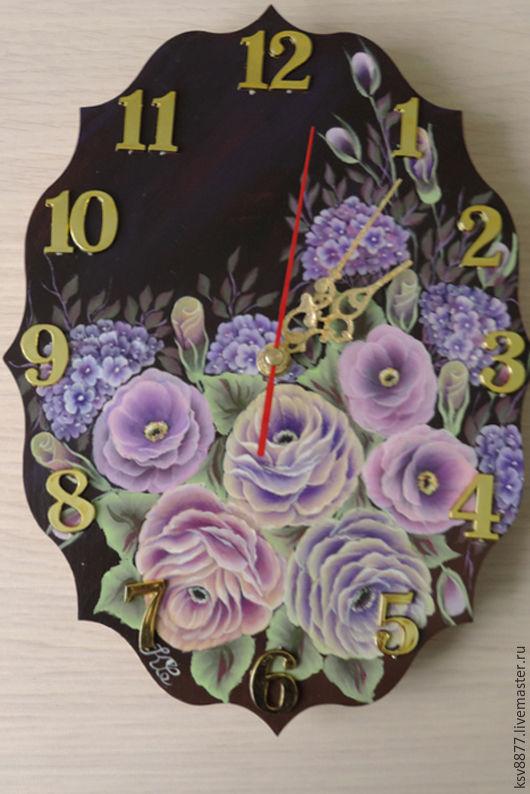 """Часы для дома ручной работы. Ярмарка Мастеров - ручная работа. Купить Настенные часы """"Розы"""". Handmade. Подарок девушке"""