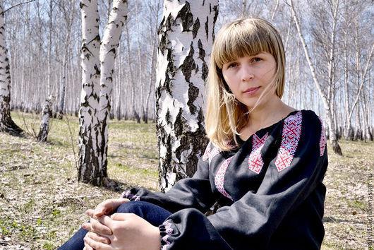 """Женская сорочка """"Алатырь-Звезда"""" чёрная"""