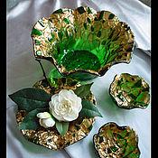 """Посуда ручной работы. Ярмарка Мастеров - ручная работа Подарочный набор посуды """"Изумруд"""" из цветного стекла.. Handmade."""