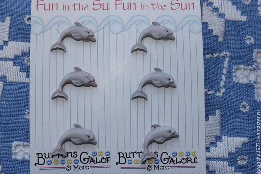 Шитье ручной работы. Ярмарка Мастеров - ручная работа. Купить Пуговицы дельфины. Handmade. Серый, дельфин, пуговицы, пуговицы декоративные