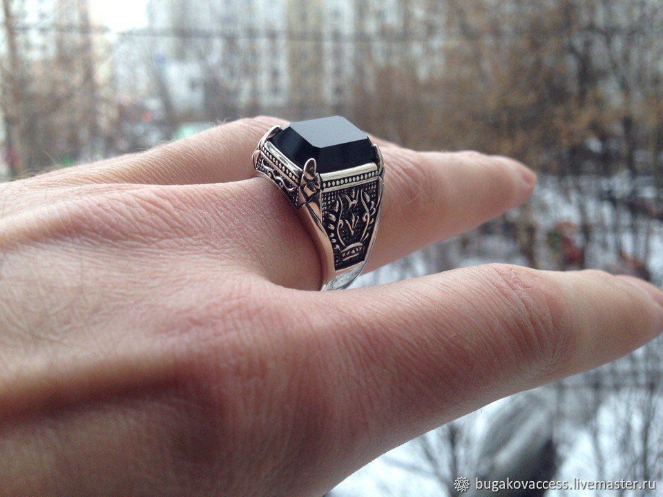 Ring Silver 925 with Onyx, Rings, Moscow,  Фото №1