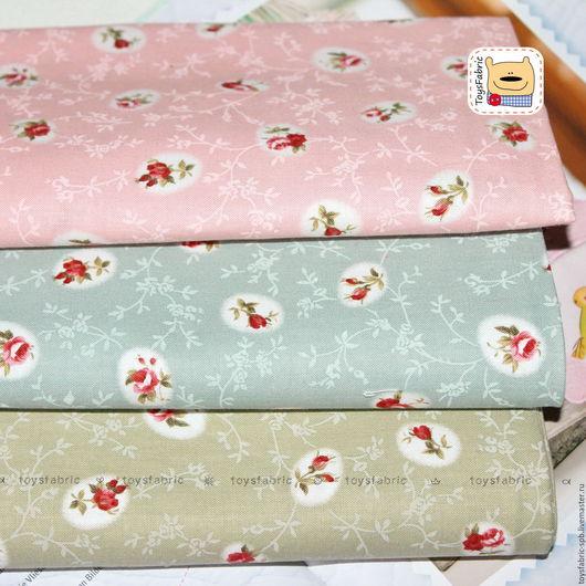 Шитье ручной работы. Ярмарка Мастеров - ручная работа. Купить Набор тканей для пэчворка Овальные розы (51087) корейский. Handmade.
