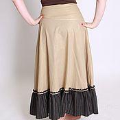 Одежда handmade. Livemaster - original item - 40% copy the work of the Linen skirt in floor sand color. Handmade.