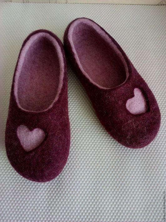 Обувь ручной работы. Ярмарка Мастеров - ручная работа. Купить Валяные тапочки-балетки. Handmade. Бордовый, тапочки из войлока