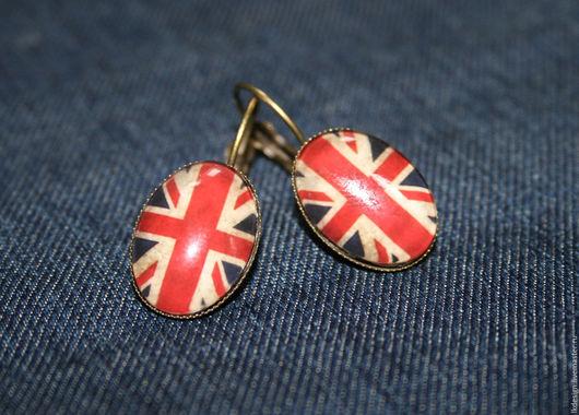 Серьги ручной работы. Ярмарка Мастеров - ручная работа. Купить Серьги бронзовые Британский флаг. Handmade. Флаг, винтажный стиль