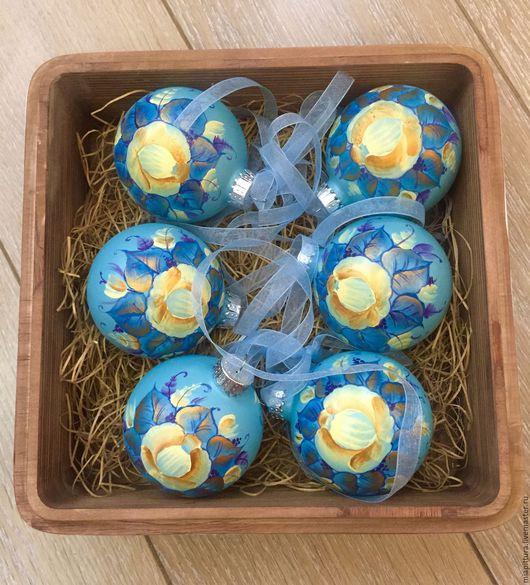 Новый год 2017 ручной работы. Ярмарка Мастеров - ручная работа. Купить набор елочных шаров Винтаж. Handmade. Тёмно-бирюзовый