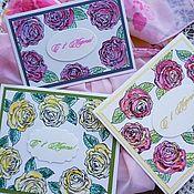 Открытки ручной работы. Ярмарка Мастеров - ручная работа Открытки: Розы. Handmade.